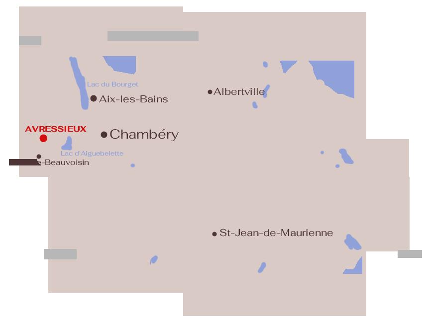 Carte : situation géographique. Avressieux, en Savoie