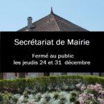 Secrétariat de Mairie – Fermetures sur la fin d'année 2020