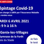 Dépistage COVID 19 Grand Public le mardi 6 avril à St Genix-les-Villages
