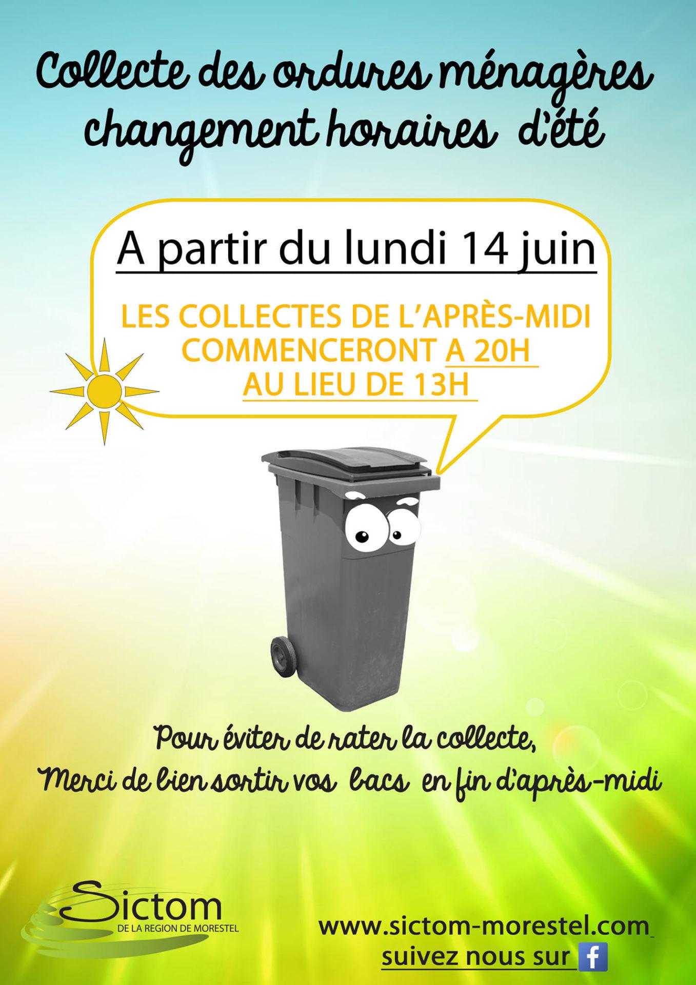 changement d'horaire collecte de ordures ménagères